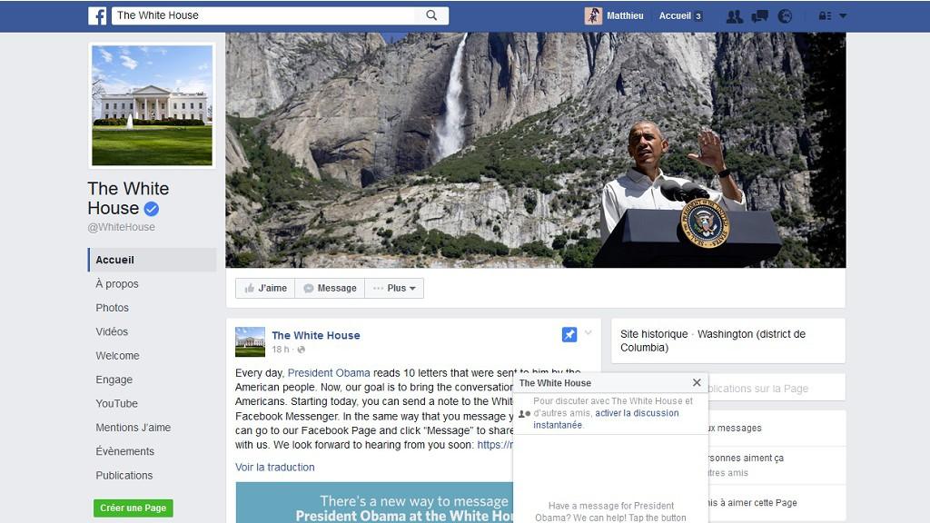 On peut désormais envoyer un message Facebook à … Barack Obama !