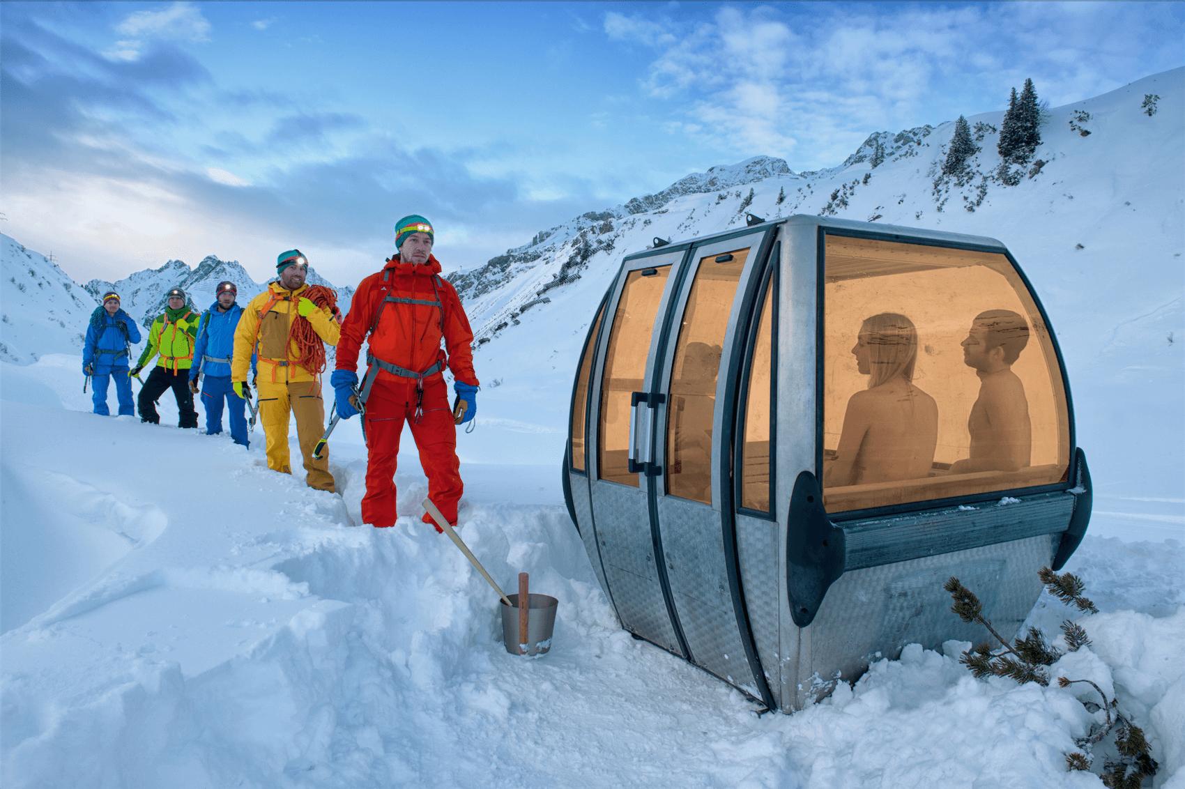 Chillez dans une télécabine recyclée en sauna électrique