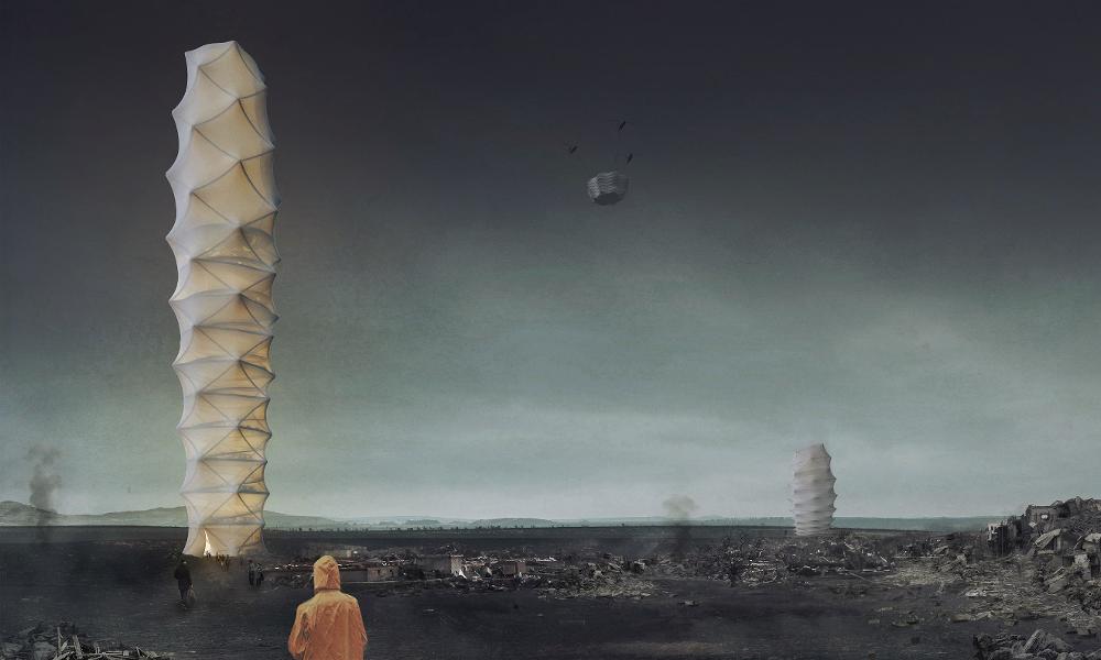Cette tour accordéon se déplie pour accueillir les réfugiés