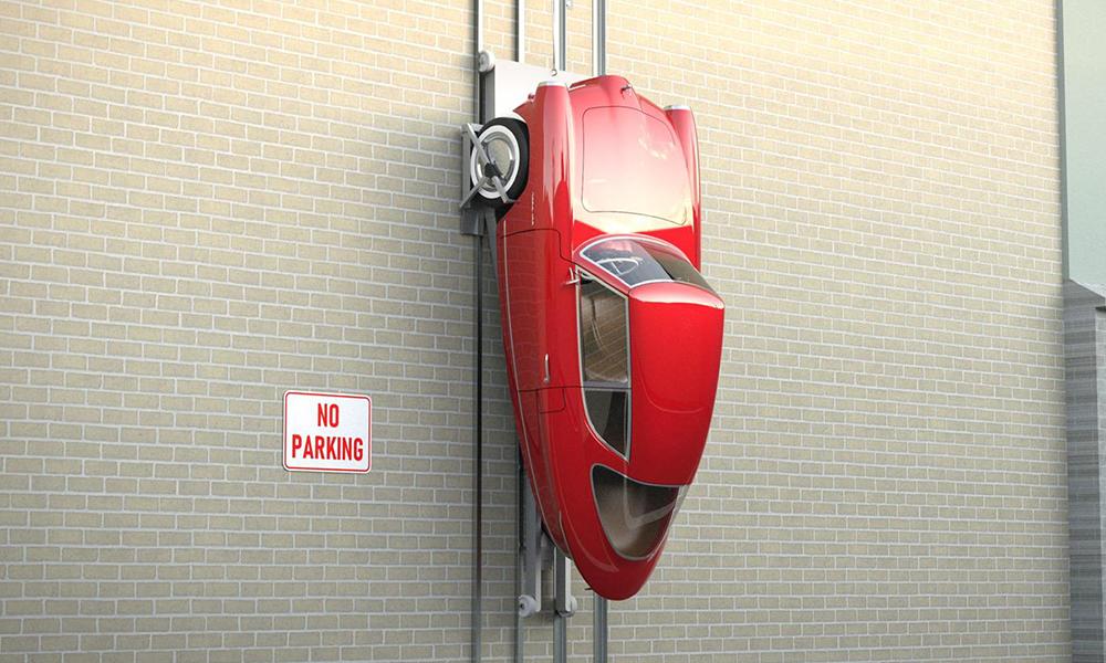 Plus jamais de galères de parking avec cette voiture électrique qui s'accroche au mur