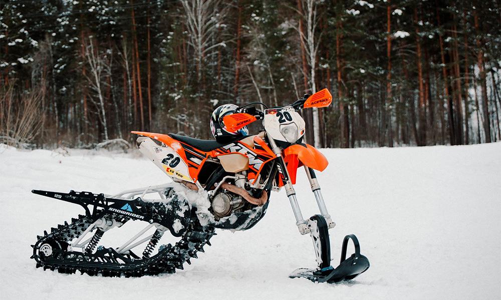 Ce kit transforme n'importe quelle moto en scooter des neiges