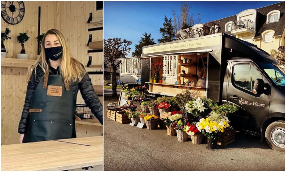 Tous les jours, elle parcourt la Normandie dans un camion pour vendre des fleurs